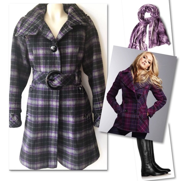 Soia & Kyo Jackets & Blazers - SOIA KYO UKRAINE WOOL PURPLE PLAID JACKET COAT L